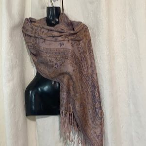 Paisley lavender, peach and pink pashmina